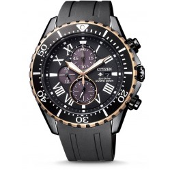Citizen Mens Eco Drive Limited Edition Promaster Chronograph Black Rubber Strap Watch CA0716-19E