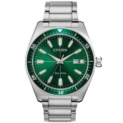 Citizen Mens Eco-Drive Green Dial Bracelet Watch AW1598-70X