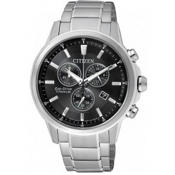 Citizen Mens Eco-Drive Black Chonrograph Dial Titanium Bracelet Watch AT2341-88E