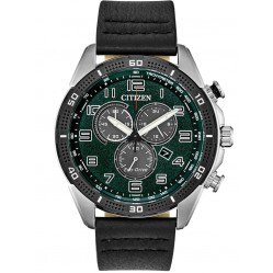 Citizen Mens Drive Green Chronograph Dial Black Leather Strap Watch AT2441-08X