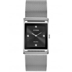 Citizen Mens Axiom Diamond Black Dial Stainless Steel Mesh Bracelet Watch BL6000-55E