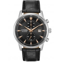 Citizen Mens Corse Stainless Steel Black Chronograph Dial Leather Strap Watch CA7000-04J