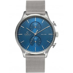 Obaku Mens Blue Mesh Bracelet Watch V196GUCLMC