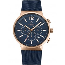 Obaku Mens Two Colour Chronograph Mesh Bracelet Watch V180GCVLML