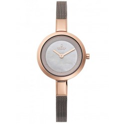 Obaku Ladies Rose Gold Plated Mesh Bracelet Watch V129LXVJMJ