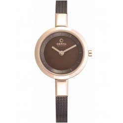 Obaku Ladies Rose Gold Plated Mesh Bracelet Watch V129LXVNMN