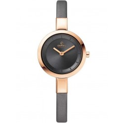 Obaku Ladies Rose Gold Plated Grey Strap Watch V129LXVJRJ