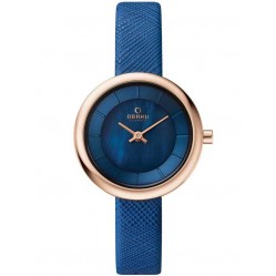 Obaku Ladies Blue Leather Strap Watch V146LXVLRA