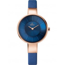 Obaku Ladies Blue Leather Strap Watch V149LXVLRA