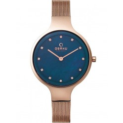 Obaku Ladies Rose Gold Plated Mesh Bracelet Watch V173LXVLMV