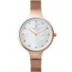 Obaku Ladies Mother of Pearl Rose Gold Plated Mesh Bracelet Watch V173LXVWMV