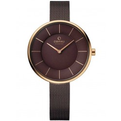 Obaku Ladies Bronze Tone Mesh Bracelet Watch V185LXVNMN