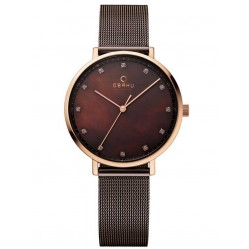 Obaku Ladies Bronze Tone Mesh Bracelet Watch V186LXVNMN