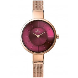Obaku Ladies Rose Gold Plated Pink Mesh Bracelet Watch V149LXVQMV