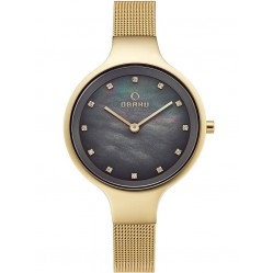 Obaku Sky Gold Plated Bracelet Watch V173LXGJMG