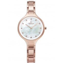 Obaku Iris Fuscia Rose Gold Plated Bracelet Watch V218LXVWSV