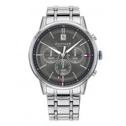 Tommy Hilfiger Kyle Stainless Steel Grey Dual Time Dial Bracelet Watch 1791632