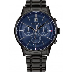 Tommy Hilfiger Kyle Black Navy Dual Time Dial Bracelet Watch 1791633