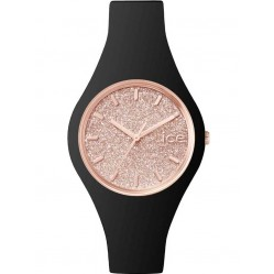 Ice-Watch Ladies Ice Glitter Rose Gold Plated Black Strap Watch ICE.GT.BRG.S.S.15