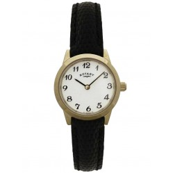 Rotary Ladies Gold Plated Black Strap Watch LSI00760
