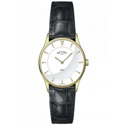 Rotary Ladies Ultra Slim Black Strap Watch LS08203/02