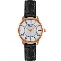 Rotary Ladies Rose Gold Black Strap Watch LS02919/41