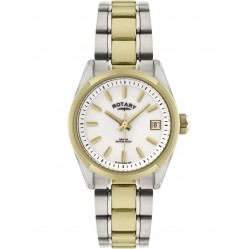 Rotary Ladies Two Tone Round White Dial Watch LB02661-11