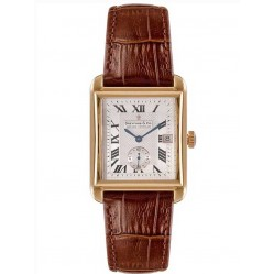 Dreyfuss and Co Mens Gold Plated Brown Leather Strap Watch DGS00142-06