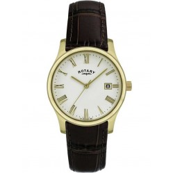 Rotary Mens Gold Plated Leather Watch GS00794-32