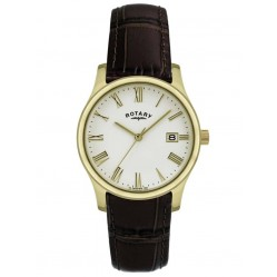 Rotary Mens Gold Plated Leather Watch GSI0794-32