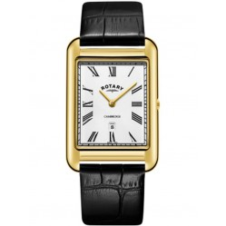 Rotary Mens Cambridge Gold Plated Rectangular Watch GS05283/01