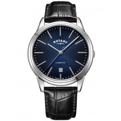 Rotary Mens Cambridge Black Leather Strap Watch GS05390/05