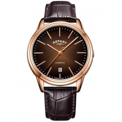 Rotary Mens Cambridge Rose Gold PVD Brown Leather Strap GS05394/16