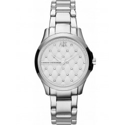 Armani Exchange Ladies Silver Quilted Stone Dial Bracelet Watch AX5208