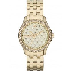 Armani Exchange Ladies Gold Plated Quilted Stone Dial Bezel Bracelet Watch AX5216