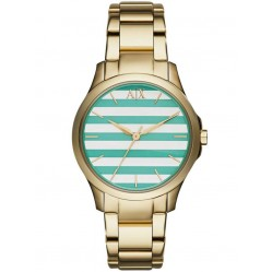 Armani Exchange Ladies Gold Plated Striped Dial Bracelet Watch AX5233