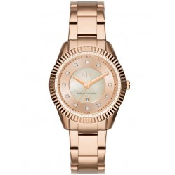 Armani Exchange Ladies Rose Gold Plated Stone Dial Bracelet Watch AX5432