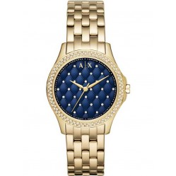Armani Exchange Lady Hampton Blue Gold Plated Bracelet Watch AX5247