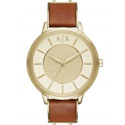 Armani Exchange Ladies Gold Plated Brown Leather Strap Watch AX5314