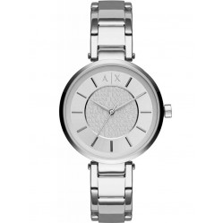 Armani Exchange Ladies Silver Logo Collage Bracelet Watch AX5315