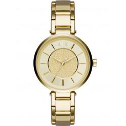 Armani Exchange Ladies Gold Plated Logo Collage Bracelet Watch AX5316