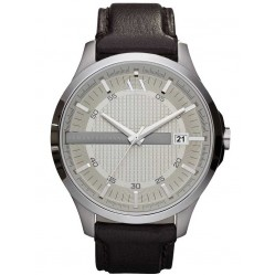 Armani Exchange Mens Brown Leather Strap Watch AX2100