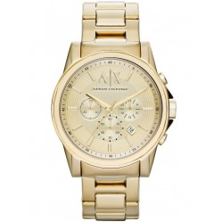 Armani Exchange Mens Gold Plated Chronograph Bracelet Watch AX2099