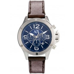 Armani Exchange Mens Silver Chronograph Brown Leather Strap Watch AX2501