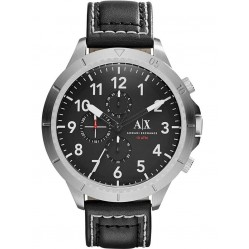 Armani Exchange Mens Black Chronograph Leather Strap Watch AX1754