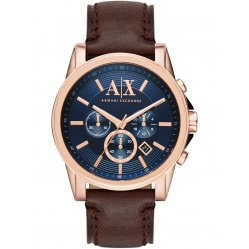 Armani Exchange Mens Rose Gold Plated Blue Dial Chronograph Leather Strap Watch AX2508