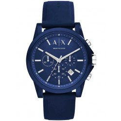 Armani Exchange Blue Chronograph Rubber Strap Watch AX1327