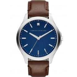 Armani Exchange Mens Blue Dial Brown Leather Strap Watch AX2181
