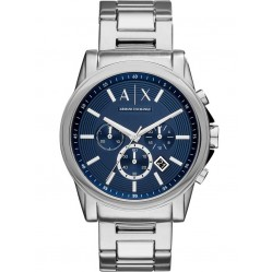 Armani Exchange Mens Silver Blue Dial Chronograph Bracelet Watch AX2509