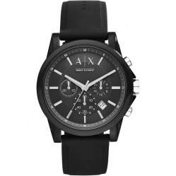 Armani Exchange Mens Black Chronograph Strap Watch AX1326